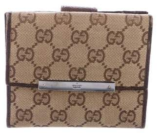Gucci GG Canvas Compact Wallet Beige GG Canvas Compact Wallet