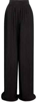 Semsem Pleated Crepe Wide-leg Pants - Black