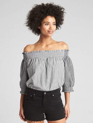 Gap Smocked Off-Shoulder Top in Poplin