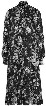 McQ Pussy-Bow Floral-Print Satin-Twill Midi Dress