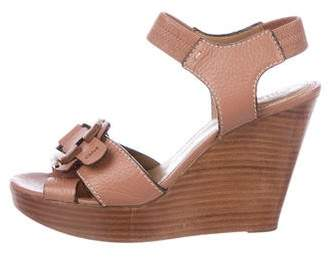 Chloé Buckle-Accented Leather Wedges