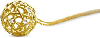 """Kesi Jewels Diamond & White Topaz Accent Openwork Ball 16"""" Pendant Necklace in 18k Gold-Plated Sterling Silver"""