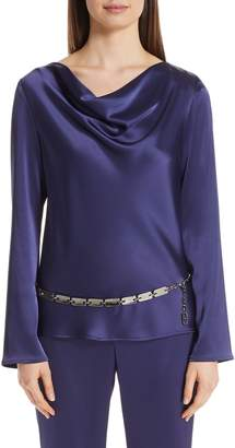 St. John Satin Cowl Neck Blouse
