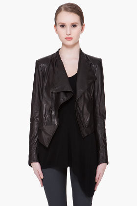 Helmut Lang Cropped Waxed Leather Jacket