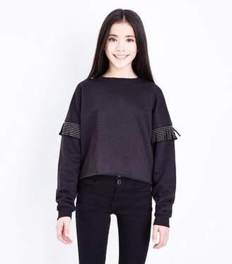 New Look Teens Black Studded Tassel Crew Neck Sweatshirt