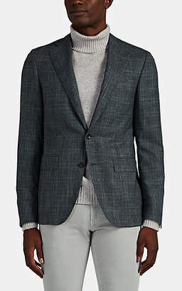Canali Men's Plaid Travel Wool-Blend Two-Button Sportcoat - Olive