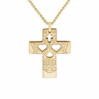 CarterGore - Gold Sugar Skull Cross Pendant Necklace