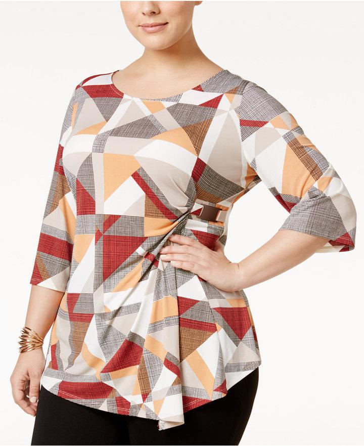 AlfaniAlfani Plus Size Printed Faux-Wrap Top, Only at Macy's