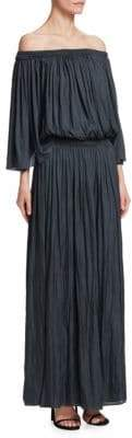 Halston Off-The-Shoulder Pleated Dress
