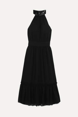 MICHAEL Michael Kors Ruffled Embellished Georgette Dress - Black