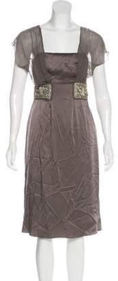Philosophy di Alberta Ferretti Embroidered Satin Dress Grey Embroidered Satin Dress