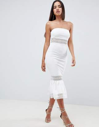 Asos DESIGN Bandeau Trim Pephem Dress