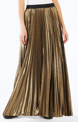 BCBGMAXAZRIA Dallin Pleated Metallic Maxi Skirt