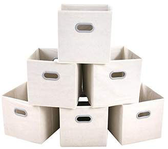 MAXhouser Fabric Storage Bins Cubes Baskets Containers with Dual Plastic Handles for Home Closet Bedroom Drawers Organizers