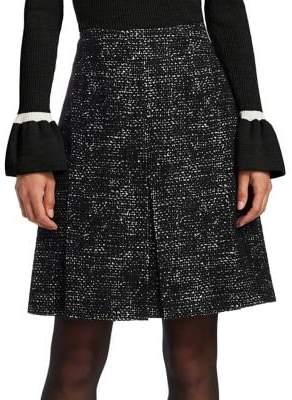 Akris Punto Tweed Pleated Flared Skirt