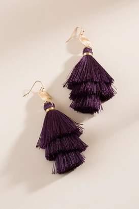 francesca's Chandler Tassel Earrings - Purple