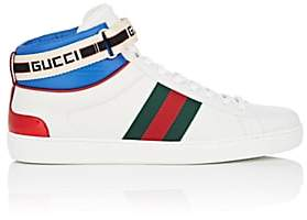 Gucci Men's Ace Logo-Striped Leather Sneakers - White