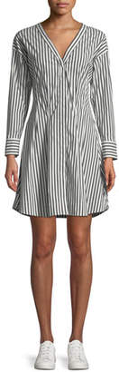 Theory Bryson Stripe Darted Button-Down Dress