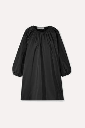 The Row Sade Oversized Gathered Silk-taffeta Mini Dress - Black