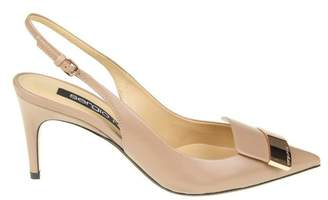 Sergio Rossi Chanel Pointed In Leather Nude Color With Gold Metal Plate
