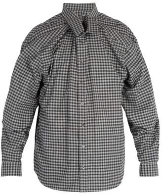Y/project - Double Layered Gingham Cotton Shirt - Mens - Grey