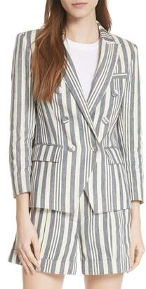 Veronica Beard Geneva Stripe Linen Blend Dickey Jacket