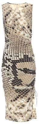 Roberto Cavalli Snake-printed silk midi dress