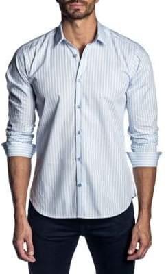 Jared Lang Vertical Stripe Cotton Sport Shirt