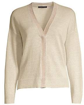 Eileen Fisher Women's Lurex-Trim Organic Linen Cardigan
