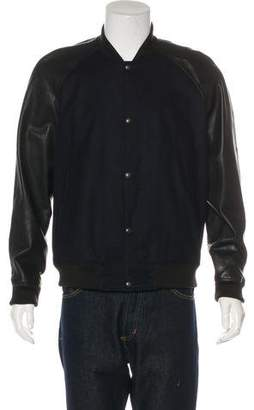 Vince Leather-Trimmed Wool Jacket