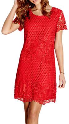 Yumi Lace Shift Dress, Red