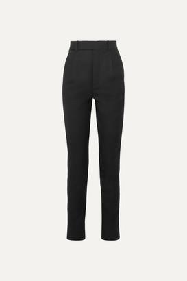 Saint Laurent Metallic-trimmed Wool-twill Straight-leg Pants - Black