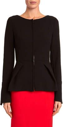 Roland Mouret Wool-Crepe Zip-Front Peplum Jacket