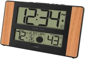 La Crosse Technology Atomic Digital Wall Clock with Wood Side Panels