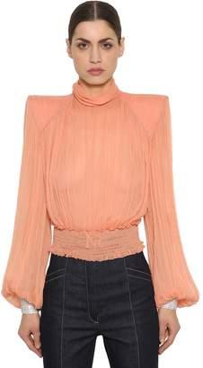 Nina Ricci Silk Chiffon Shirt W/ Crystal Cuffs
