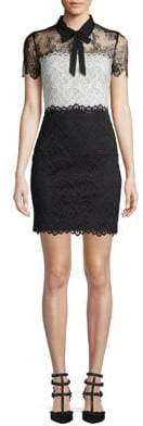Sandro Contrasting Lace Bow Tie Dress