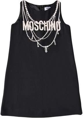 Moschino Logo Printed Crepe De Chine Dress