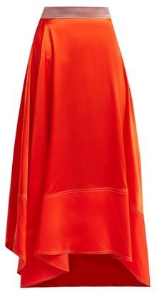 Roksanda Shona Asymmetric Silk Satin Skirt - Womens - Orange Multi