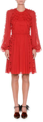 Giambattista Valli Ruffled Round-Neck Long-Sleeve Chiffon Dress