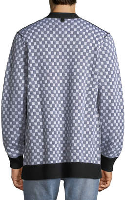 Ovadia & Sons Men's Checkerboard Pocket Cardigan