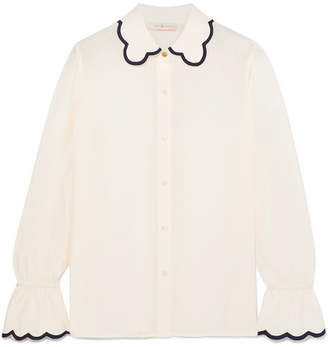 Tory Burch Scalloped Silk Crepe De Chine Shirt - Ivory