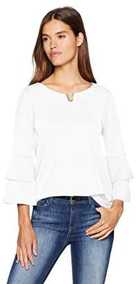 Calvin Klein Women's Double Ruffle Blouse with Hardware