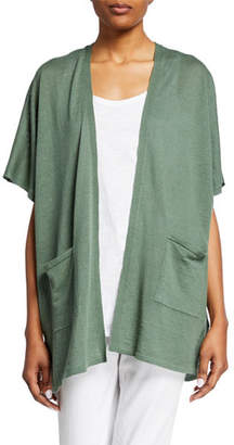 956fa8e8d78 Eileen Fisher Plus Size Open-Front Organic Linen Cotton Short-Sleeve  Cardigan