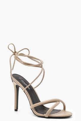 boohoo Cross Strap Wrap Ankle Heels