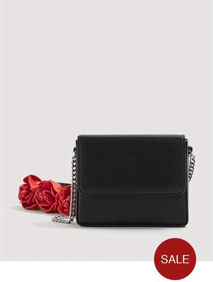 MANGO 3D Floral Crossbody Bag - Black