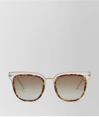 Bottega Veneta Sunglasses In Shiny Classic Havana Acetate And Transparent Light Yellow Metal, Gradient Brown Lens