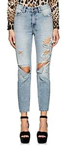 Ksubi WOMEN'S SLIM PIN DISTRESSED JEANS - LT. BLUE SIZE 27