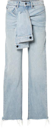 Alexander Wang Stack Tie Tie-front Distressed High-rise Straight-leg Jeans