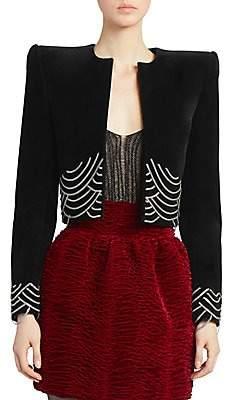 Saint Laurent Women's Cropped Velvet Chain Jacket