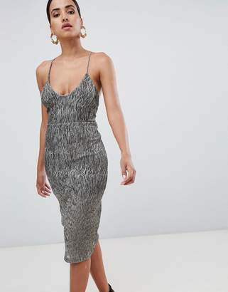 Rare London Strappy Back Metallic Midi Dress